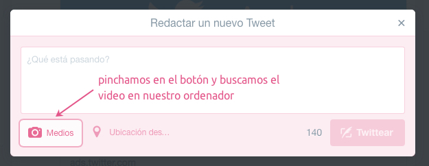 subir video a twitter desde la web 2