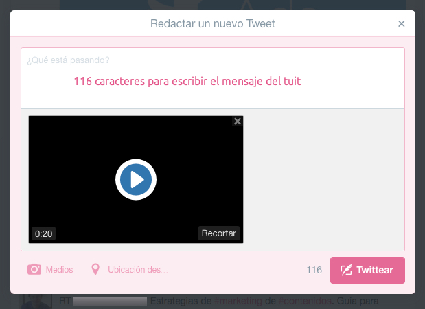 subir video a twitter desde la web 3