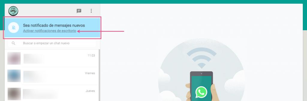 Notificaciones escritorio de WhatsApp